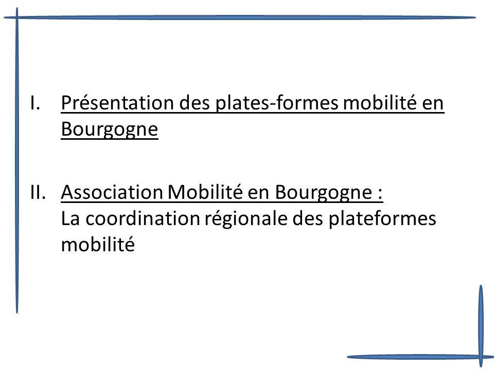 I.Présentation des plates-formes mobilité en Bourgogne II.Association Mobilité en Bourgogne : La coordination régionale des plateformes mobilité
