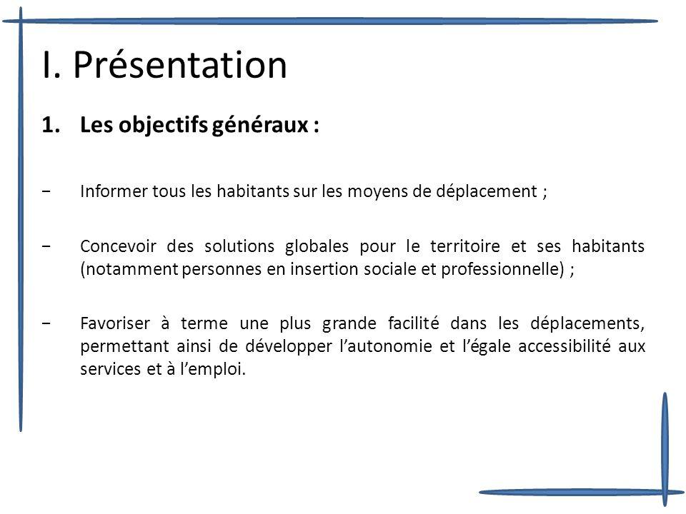 I. Présentation 1.Les objectifs généraux : Informer tous les habitants sur les moyens de déplacement ; Concevoir des solutions globales pour le territ