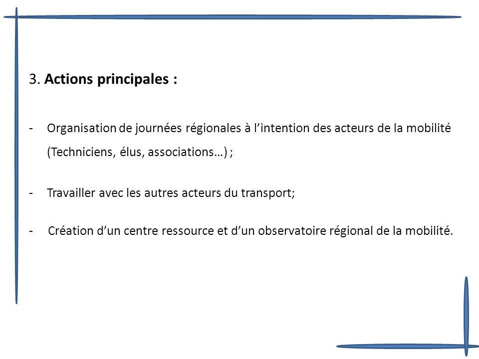 3. Actions principales : -Organisation de journées régionales à lintention des acteurs de la mobilité (Techniciens, élus, associations…) ; -Travailler