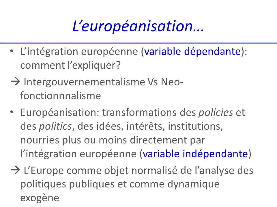 Leuropéanisation… Lintégration européenne (variable dépendante): comment lexpliquer.