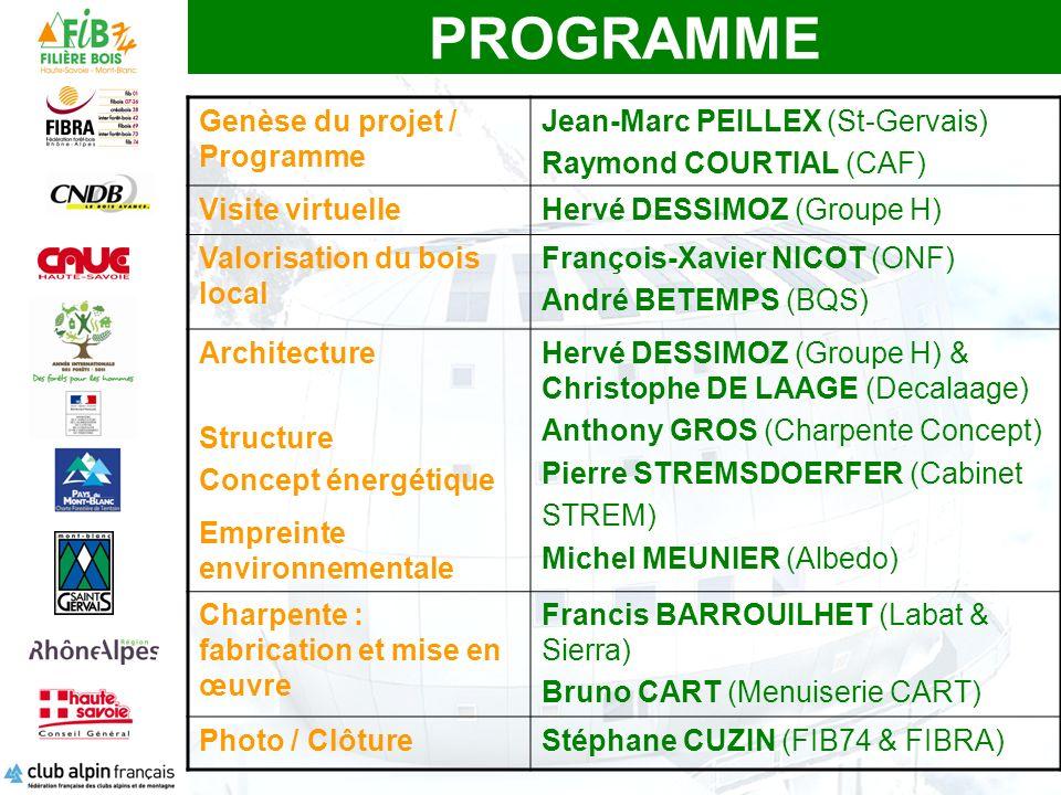 PROGRAMME Genèse du projet / Programme Jean-Marc PEILLEX (St-Gervais) Raymond COURTIAL (CAF) Visite virtuelleHervé DESSIMOZ (Groupe H) Valorisation du bois local François-Xavier NICOT (ONF) André BETEMPS (BQS) Architecture Structure Concept énergétique Empreinte environnementale Hervé DESSIMOZ (Groupe H) & Christophe DE LAAGE (Decalaage) Anthony GROS (Charpente Concept) Pierre STREMSDOERFER (Cabinet STREM) Michel MEUNIER (Albedo) Charpente : fabrication et mise en œuvre Francis BARROUILHET (Labat & Sierra) Bruno CART (Menuiserie CART) Photo / ClôtureStéphane CUZIN (FIB74 & FIBRA)