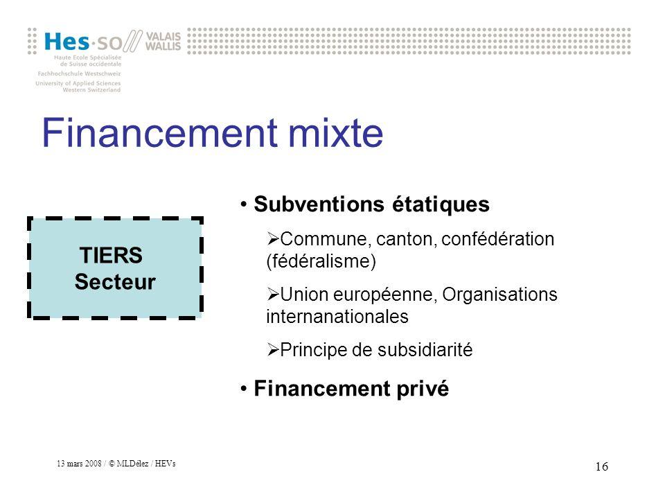 13 mars 2008 / © MLDélez / HEVs 17 Financement mixte Différence entre Subvention (à linvestissement ou à lexploitation) Prestations dassurances TIERS Secteur
