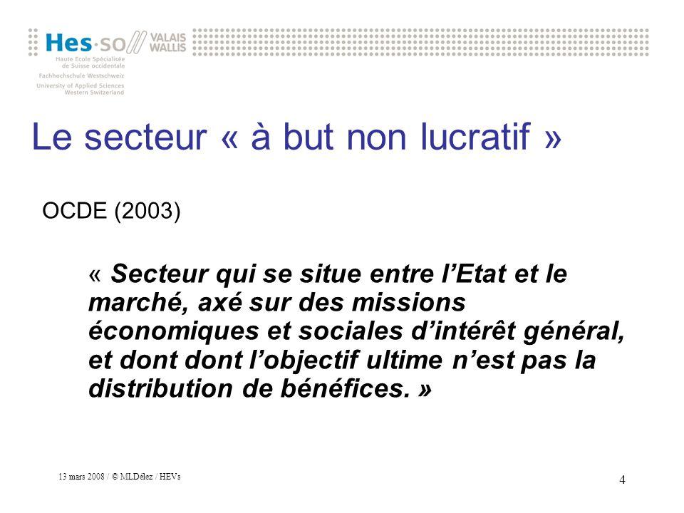 13 mars 2008 / © MLDélez / HEVs 5 La notion dutilité publique à but non lucratif en Suisse Cest une reconnaissance officielle décrétée par lAdministration fédérale des contributions (AFC)
