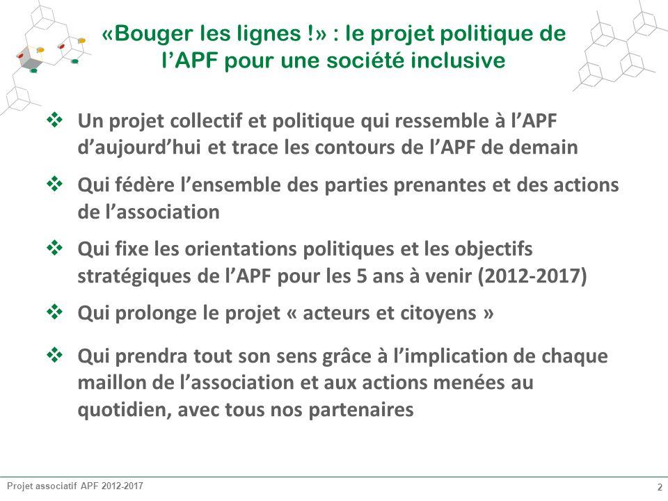 Projet associatif APF 2012-2017 2 «Bouger les lignes !» : le projet politique de lAPF pour une société inclusive Un projet collectif et politique qui