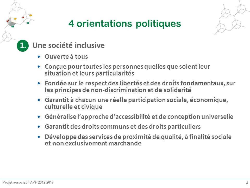 Projet associatif APF 2012-2017 4 4 orientations politiques 1.Une société inclusive Ouverte à tous Conçue pour toutes les personnes quelles que soient