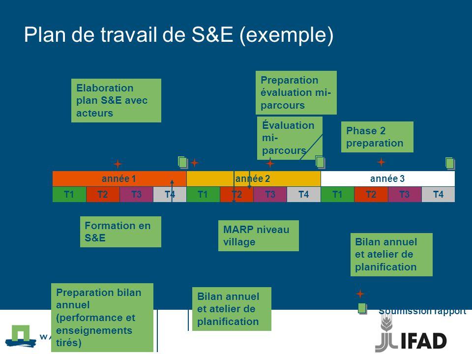 T1T3T2T4 année 1 T1T3T2T4 année 3 T1T3T2T4 année 2 Elaboration plan S&E avec acteurs Preparation évaluation mi- parcours Évaluation mi- parcours Forma