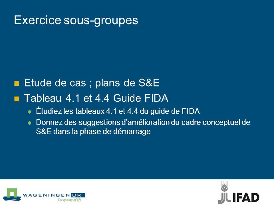 Exercice sous-groupes Etude de cas ; plans de S&E Tableau 4.1 et 4.4 Guide FIDA Étudiez les tableaux 4.1 et 4.4 du guide de FIDA Donnez des suggestion
