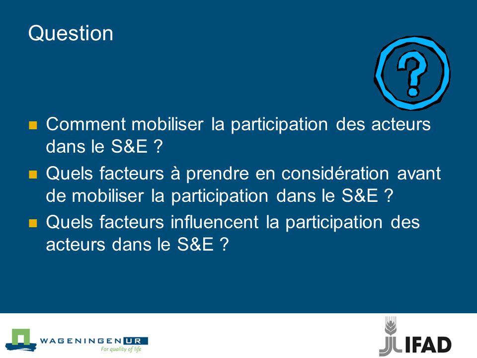 Question Comment mobiliser la participation des acteurs dans le S&E ? Quels facteurs à prendre en considération avant de mobiliser la participation da