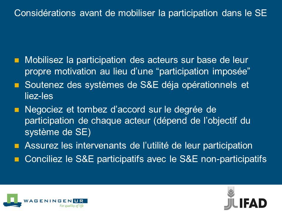 Considérations avant de mobiliser la participation dans le SE Mobilisez la participation des acteurs sur base de leur propre motivation au lieu dune p