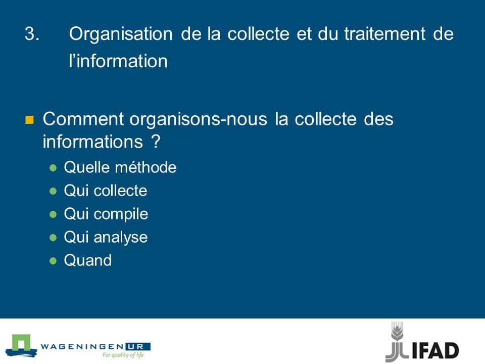 3.Organisation de la collecte et du traitement de linformation Comment organisons-nous la collecte des informations ? Quelle méthode Qui collecte Qui
