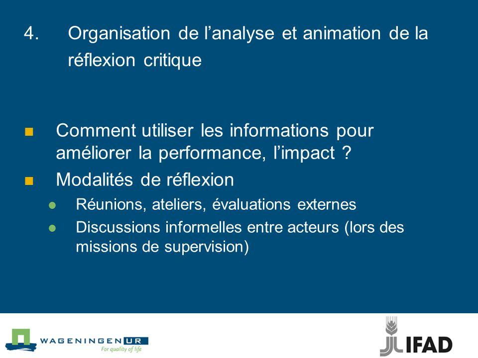 4.Organisation de lanalyse et animation de la réflexion critique Comment utiliser les informations pour améliorer la performance, limpact ? Modalités
