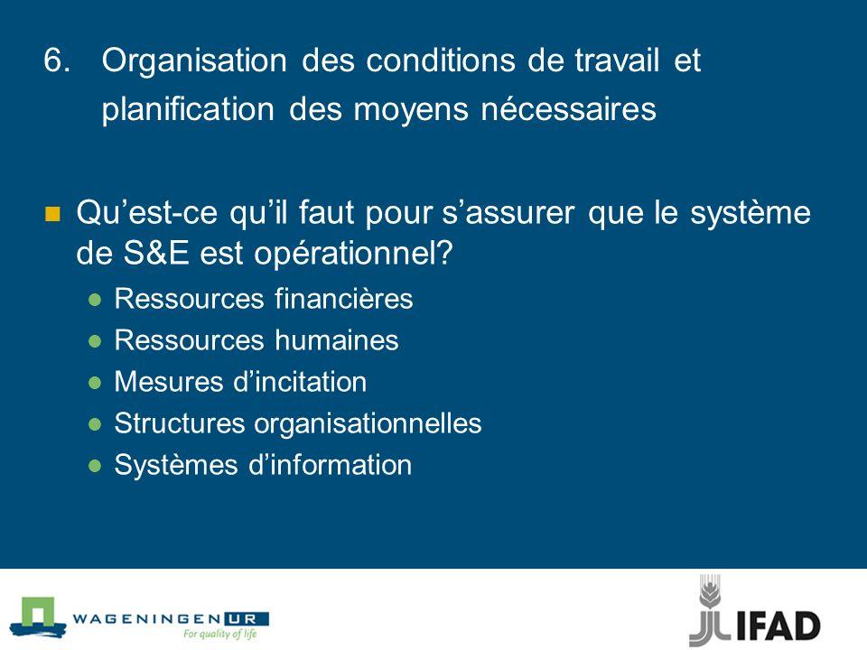 6.Organisation des conditions de travail et planification des moyens nécessaires Quest-ce quil faut pour sassurer que le système de S&E est opérationn