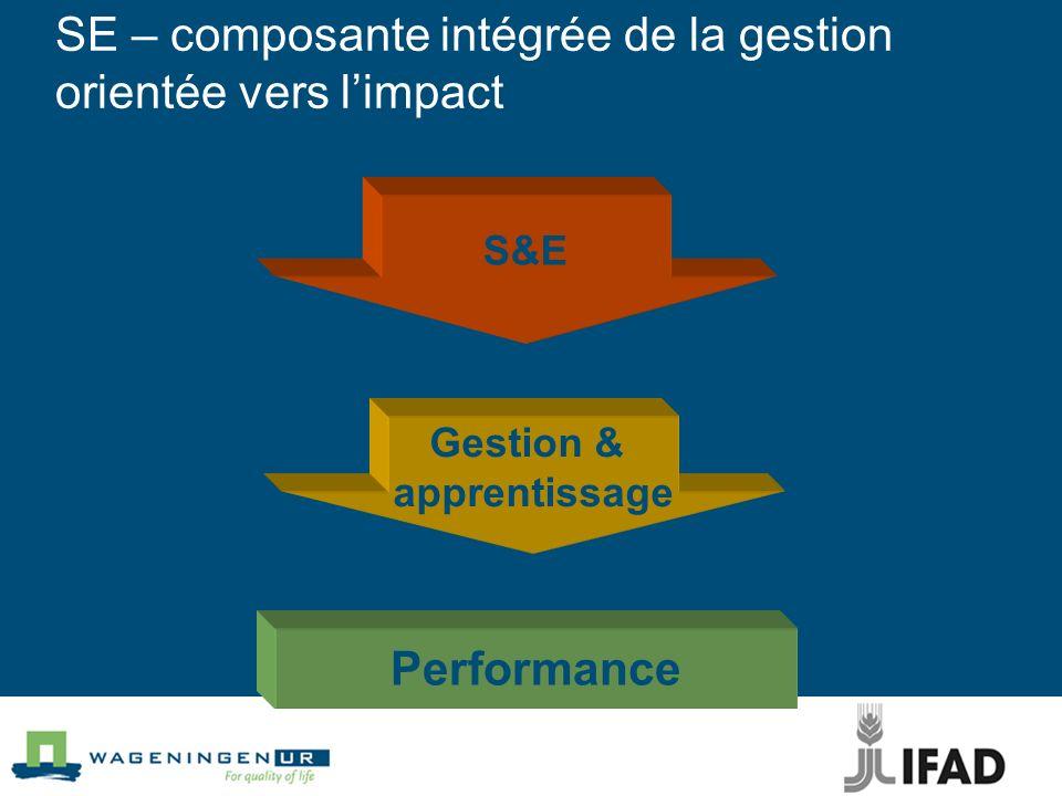 S&E Performance SE – composante intégrée de la gestion orientée vers limpact Gestion & apprentissage supporte conduit à