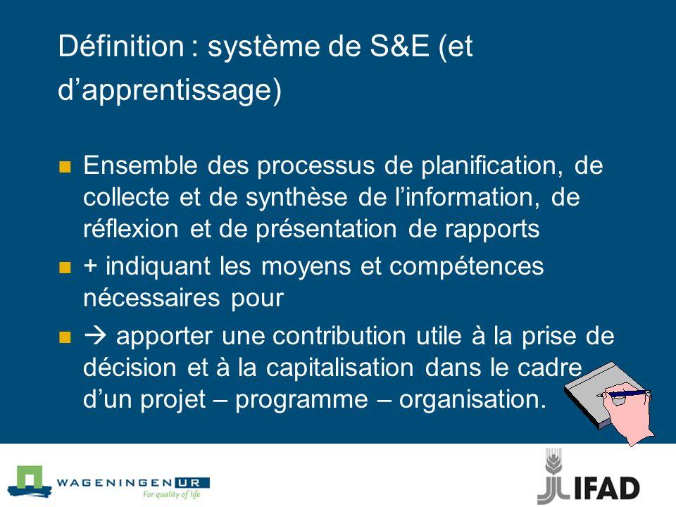 Définition : système de S&E (et dapprentissage) Ensemble des processus de planification, de collecte et de synthèse de linformation, de réflexion et d