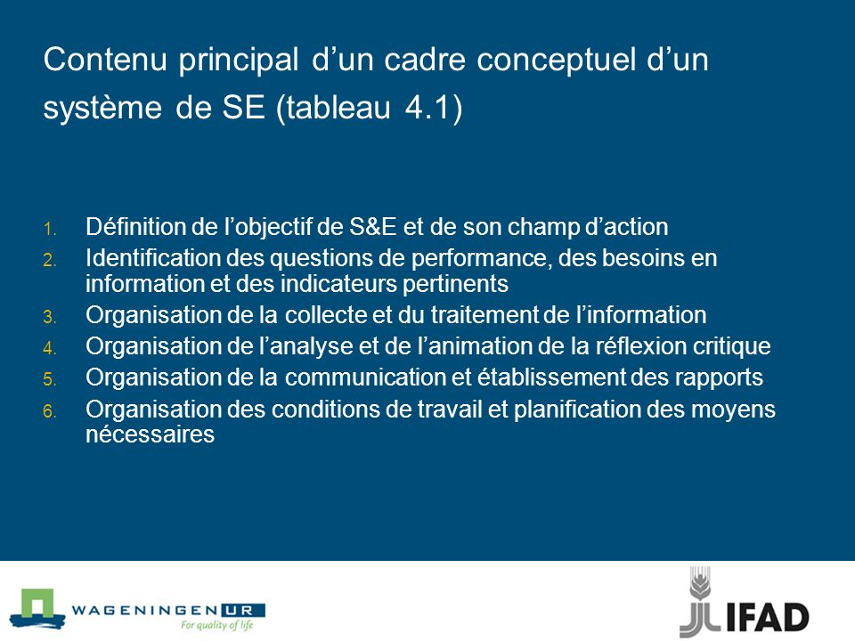 Contenu principal dun cadre conceptuel dun système de SE (tableau 4.1) 1. Définition de lobjectif de S&E et de son champ daction 2. Identification des