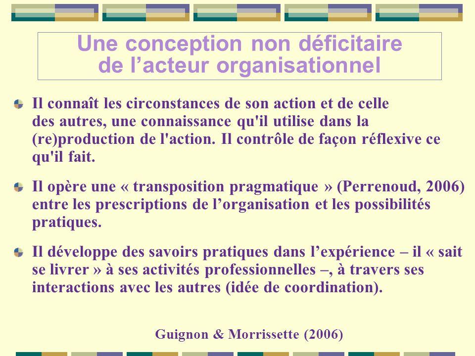 Une conception non déficitaire de lacteur organisationnel Il connaît les circonstances de son action et de celle des autres, une connaissance qu il utilise dans la (re)production de l action.