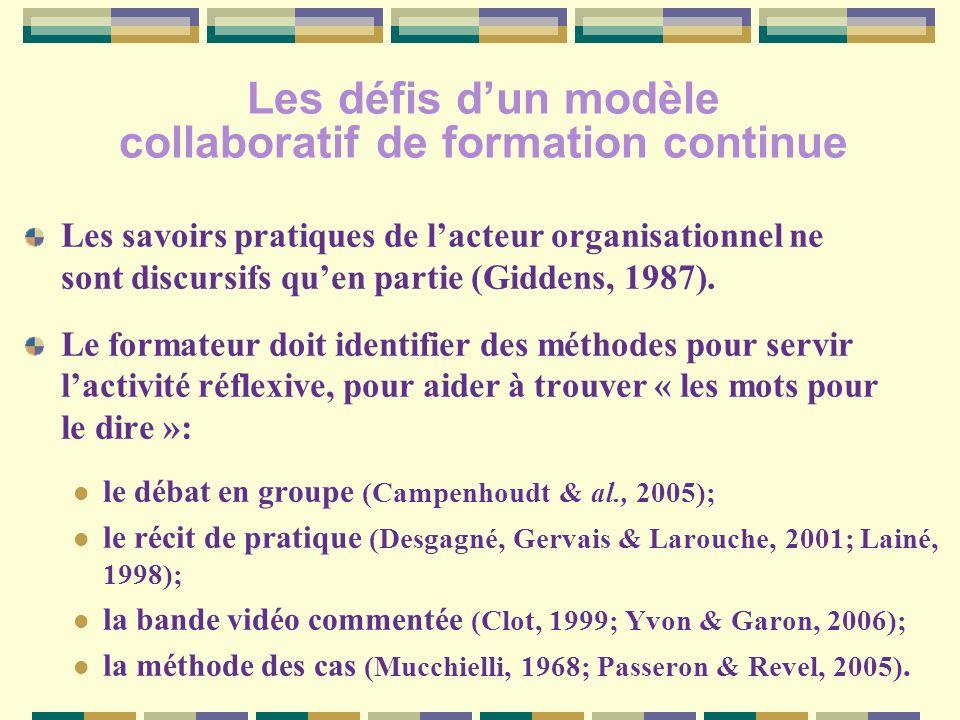 Les défis dun modèle collaboratif de formation continue Les savoirs pratiques de lacteur organisationnel ne sont discursifs quen partie (Giddens, 1987).