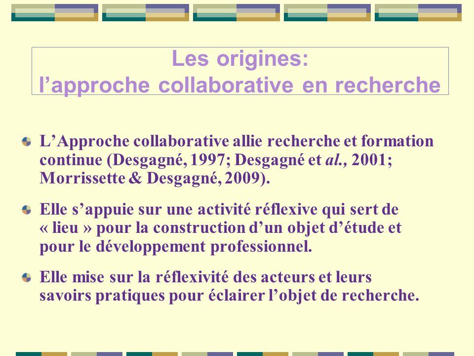 Les origines: lapproche collaborative en recherche LApproche collaborative allie recherche et formation continue (Desgagné, 1997; Desgagné et al., 2001; Morrissette & Desgagné, 2009).