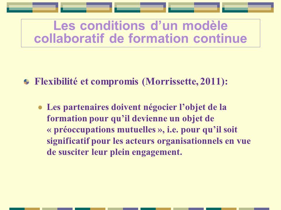 Flexibilité et compromis (Morrissette, 2011): Les partenaires doivent négocier lobjet de la formation pour quil devienne un objet de « préoccupations mutuelles », i.e.