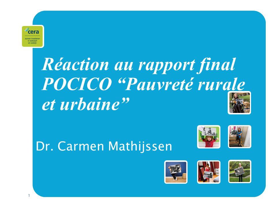 1 Réaction au rapport final POCICO Pauvreté rurale et urbaine Dr. Carmen Mathijssen