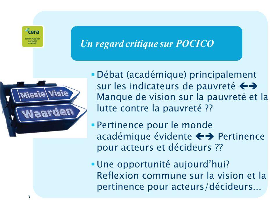 3 Un regard critique sur POCICO Débat (académique) principalement sur les indicateurs de pauvreté Manque de vision sur la pauvreté et la lutte contre la pauvreté .