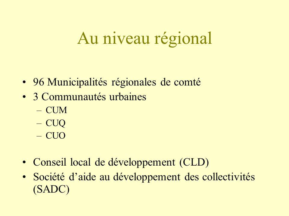 Au niveau régional 96 Municipalités régionales de comté 3 Communautés urbaines –CUM –CUQ –CUO Conseil local de développement (CLD) Société daide au développement des collectivités (SADC)