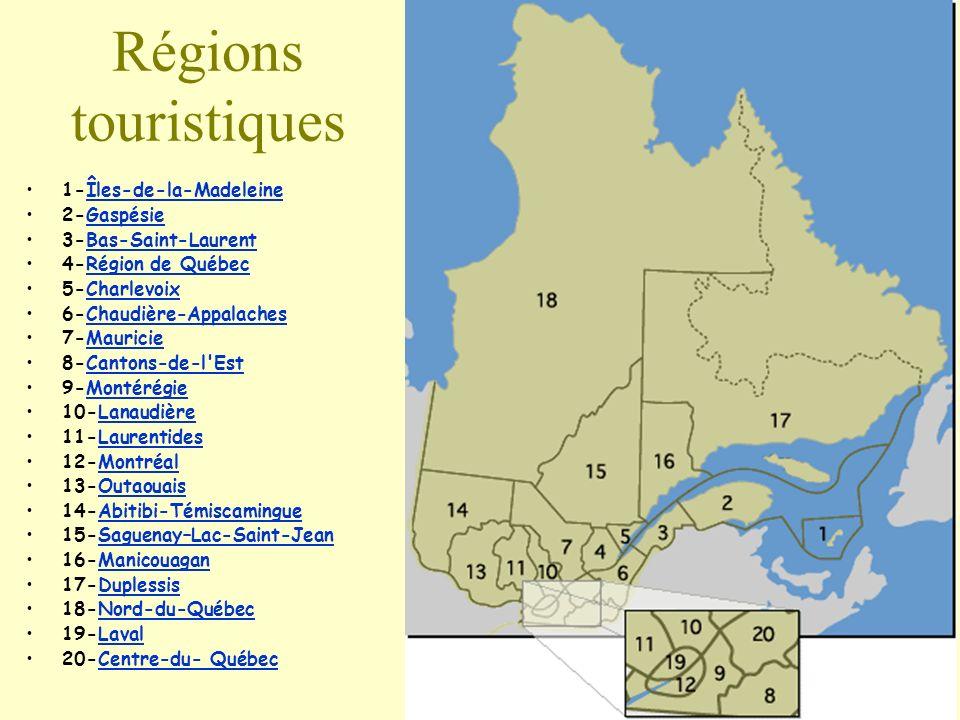 Régions touristiques 1-Îles-de-la-MadeleineÎles-de-la-Madeleine 2-GaspésieGaspésie 3-Bas-Saint-LaurentBas-Saint-Laurent 4-Région de QuébecRégion de Qu