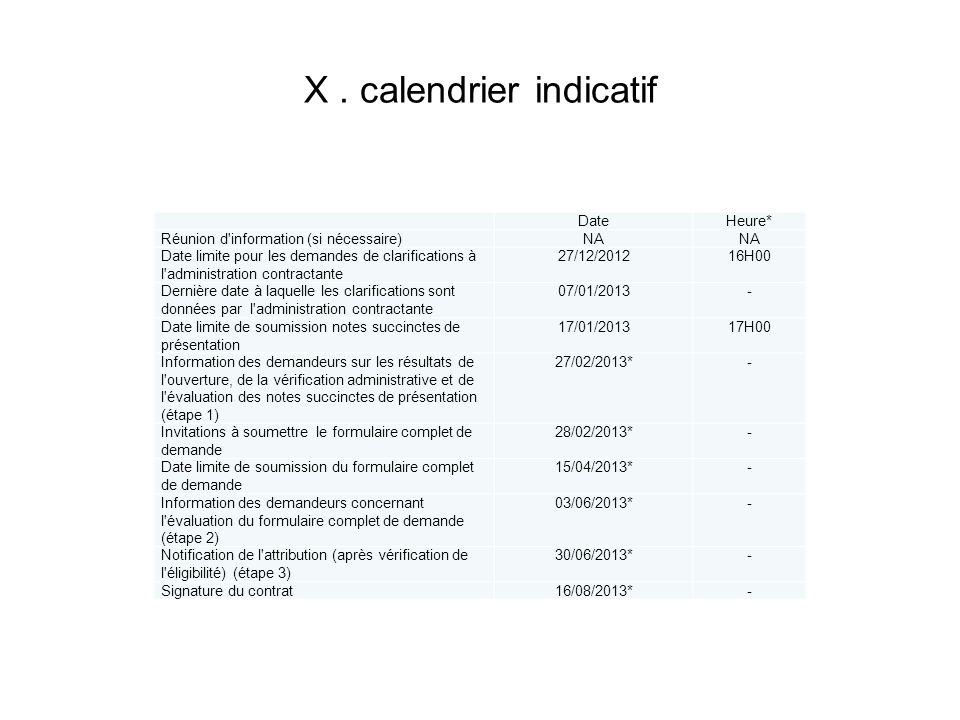 X. calendrier indicatif DateHeure* Réunion d'information (si nécessaire)NA Date limite pour les demandes de clarifications à l'administration contract