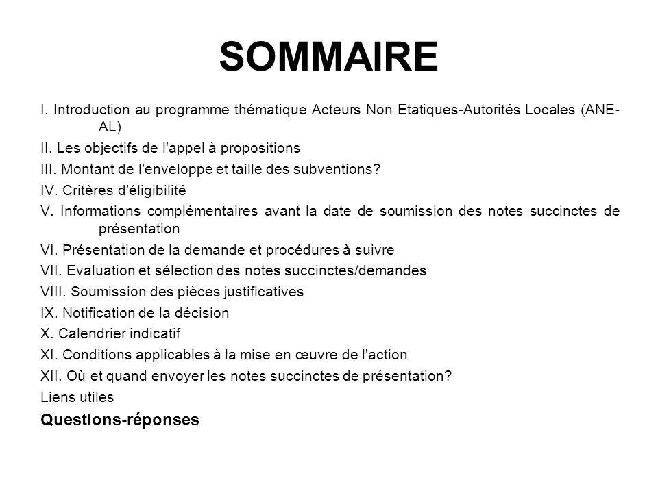 SOMMAIRE I. Introduction au programme thématique Acteurs Non Etatiques-Autorités Locales (ANE- AL) II. Les objectifs de l'appel à propositions III. Mo