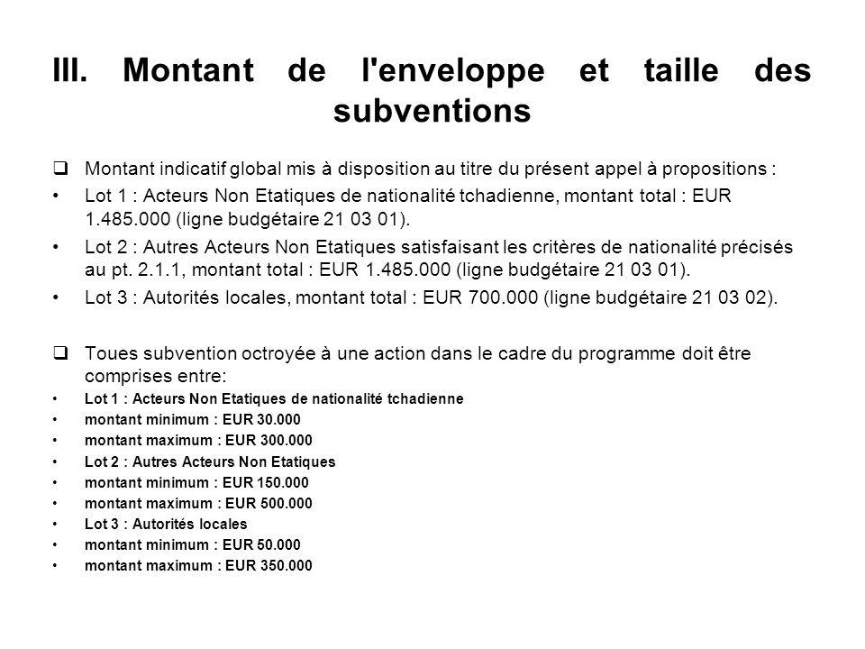 III. Montant de l'enveloppe et taille des subventions Montant indicatif global mis à disposition au titre du présent appel à propositions : Lot 1 : Ac