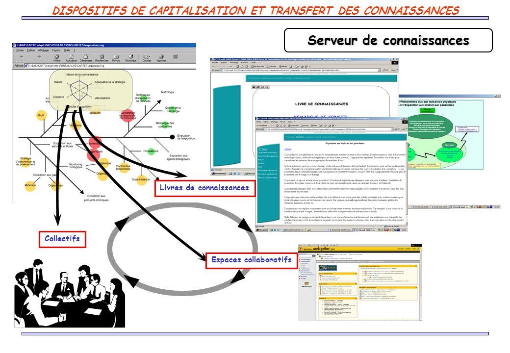 Serveur de connaissances Livres de connaissances Collectifs Espaces collaboratifs DISPOSITIFS DE CAPITALISATION ET TRANSFERT DES CONNAISSANCES