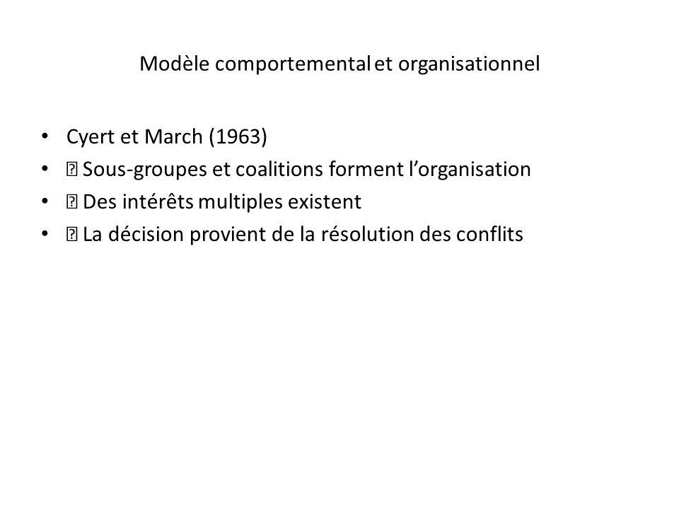Modèle comportemental et organisationnel Cyert et March (1963) Sous-groupes et coalitions forment lorganisation Des intérêts multiples existent La déc