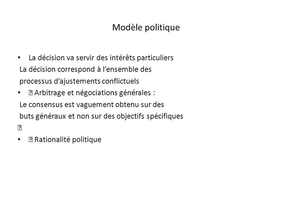 Modèle politique La décision va servir des intérêts particuliers La décision correspond à lensemble des processus dajustements conflictuels Arbitrage