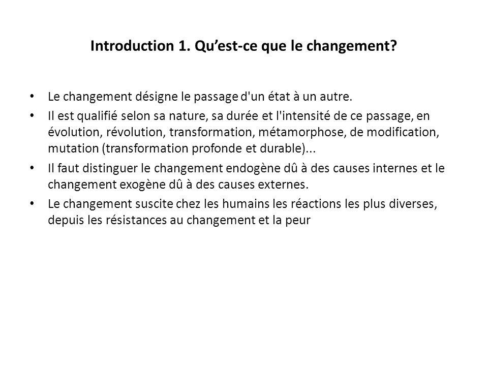 Introduction 1. Quest-ce que le changement? Le changement désigne le passage d'un état à un autre. Il est qualifié selon sa nature, sa durée et l'inte