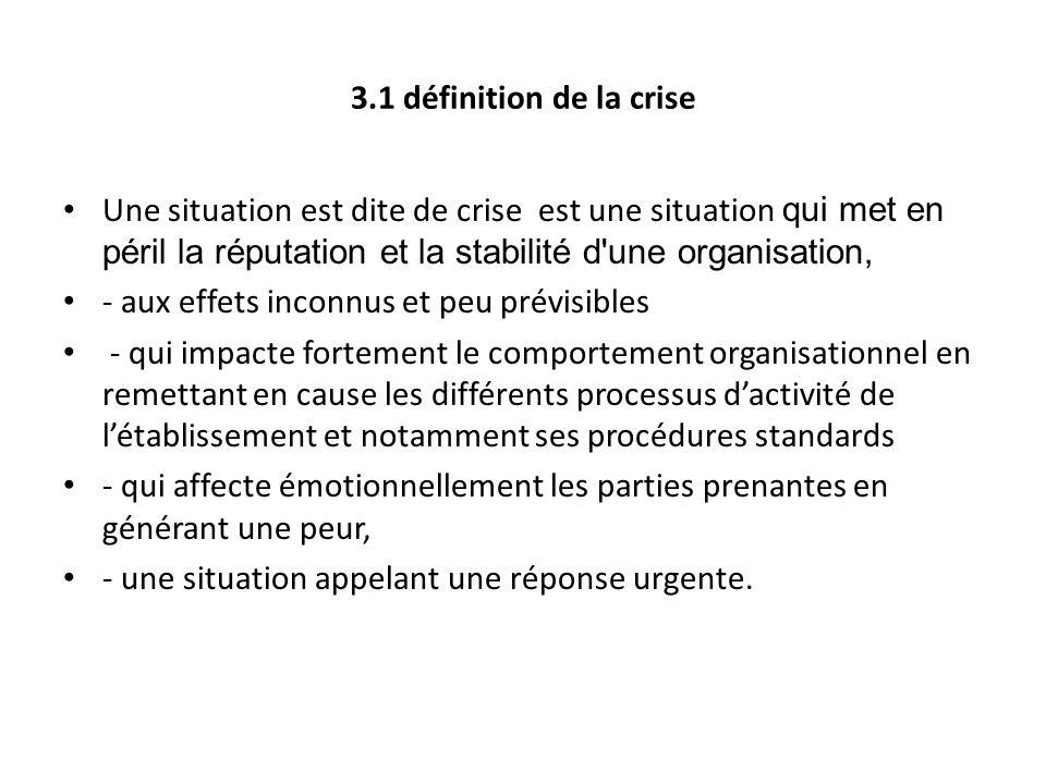 3.1 définition de la crise Une situation est dite de crise est une situation qui met en péril la réputation et la stabilité d'une organisation, - aux