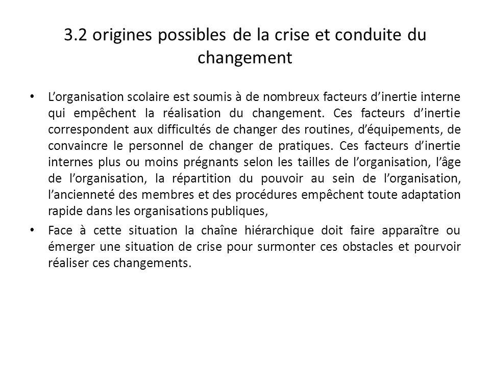 3.2 origines possibles de la crise et conduite du changement Lorganisation scolaire est soumis à de nombreux facteurs dinertie interne qui empêchent l
