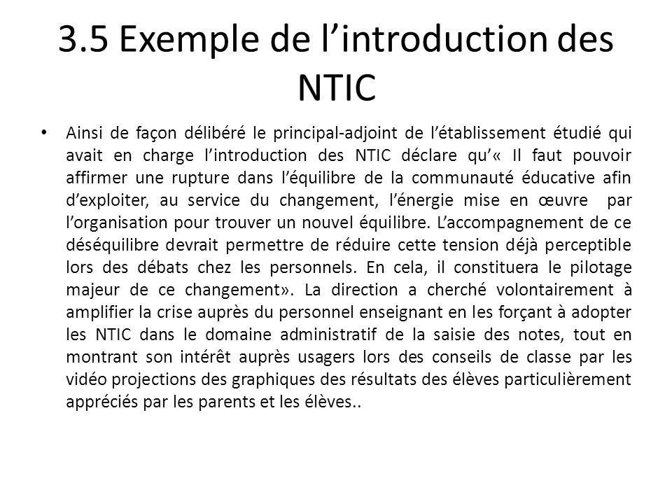 3.5 Exemple de lintroduction des NTIC Ainsi de façon délibéré le principal-adjoint de létablissement étudié qui avait en charge lintroduction des NTIC