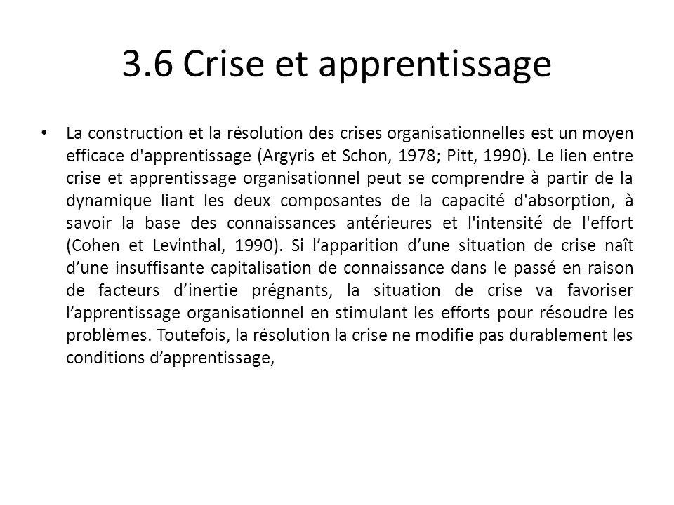 3.6 Crise et apprentissage La construction et la résolution des crises organisationnelles est un moyen efficace d'apprentissage (Argyris et Schon, 197