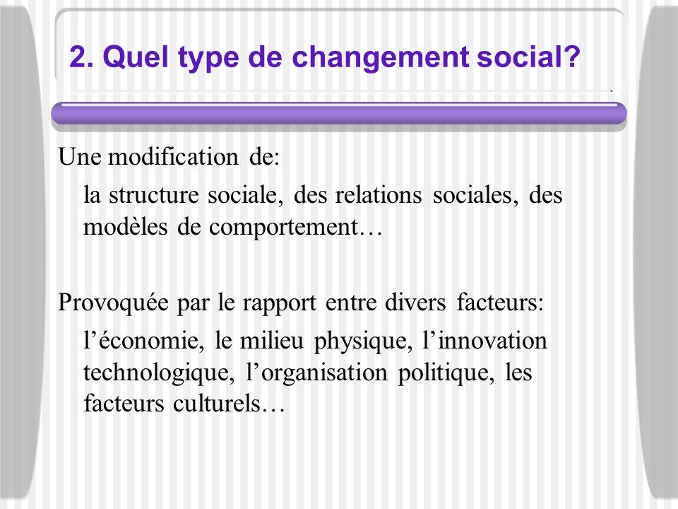 2. Quel type de changement social? Une modification de: la structure sociale, des relations sociales, des modèles de comportement… Provoquée par le ra