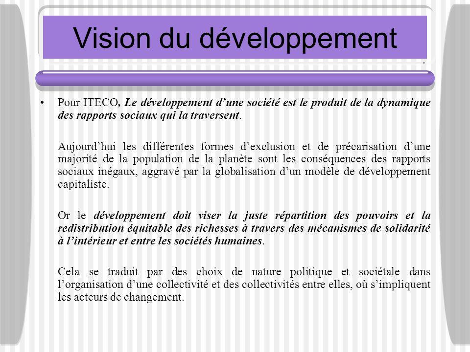 Vision du développement Pour ITECO, Le développement dune société est le produit de la dynamique des rapports sociaux qui la traversent. Aujourdhui le