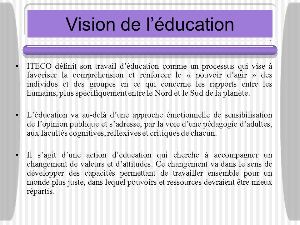 Vision de léducation ITECO définit son travail déducation comme un processus qui vise à favoriser la compréhension et renforcer le « pouvoir dagir » d