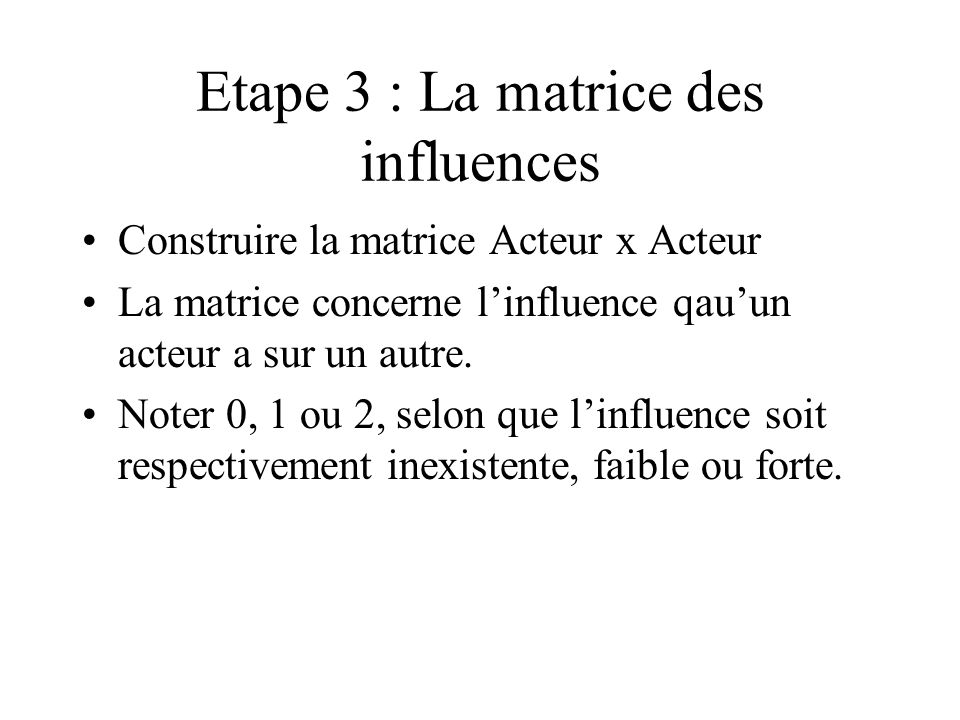 Etape 3 : La matrice des influences Construire la matrice Acteur x Acteur La matrice concerne linfluence qauun acteur a sur un autre. Noter 0, 1 ou 2,