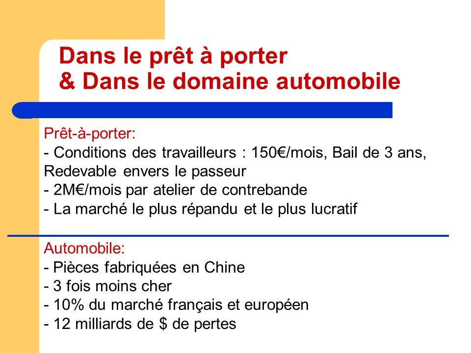 Dans le prêt à porter & Dans le domaine automobile Prêt-à-porter: - Conditions des travailleurs : 150/mois, Bail de 3 ans, Redevable envers le passeur