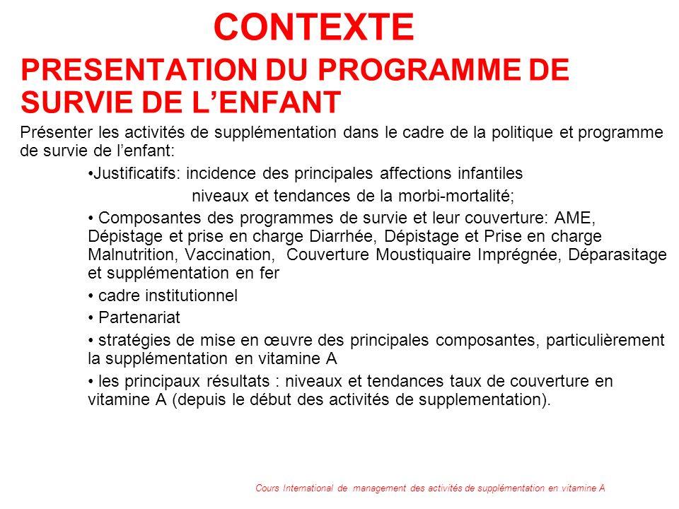 CONTEXTE PRESENTATION DU PROGRAMME DE SURVIE DE LENFANT Présenter les activités de supplémentation dans le cadre de la politique et programme de survi