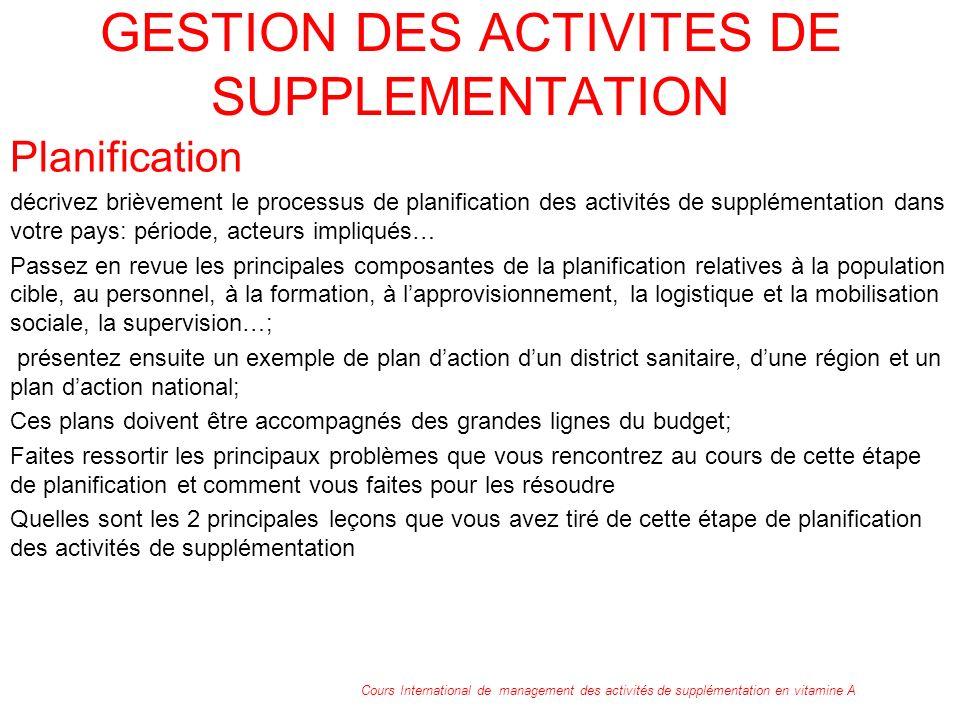 GESTION DES ACTIVITES DE SUPPLEMENTATION Planification décrivez brièvement le processus de planification des activités de supplémentation dans votre p