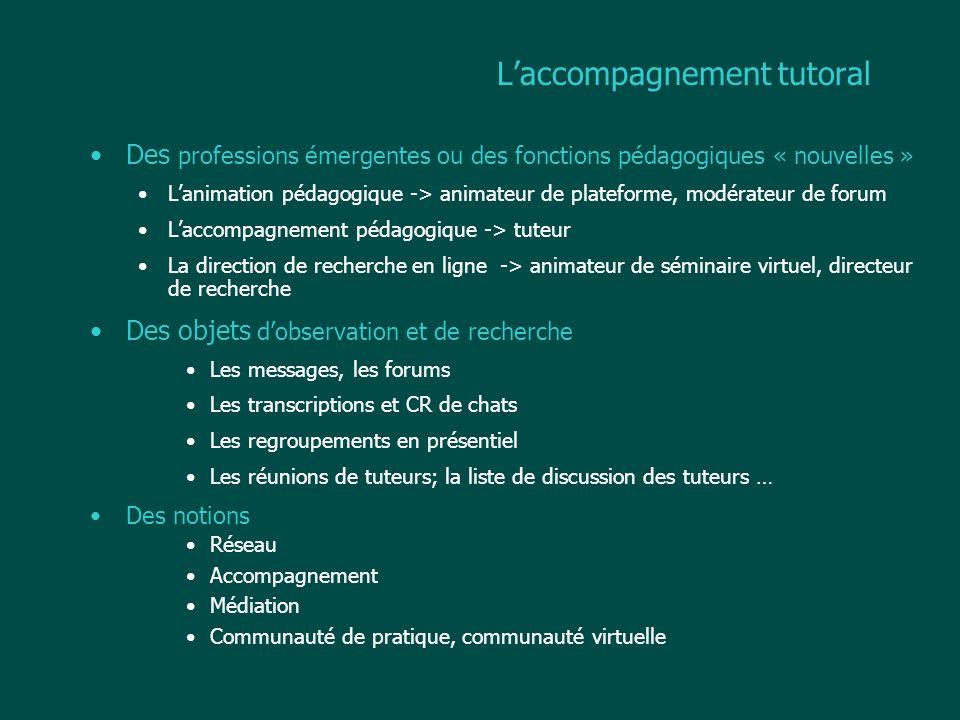 Laccompagnement tutoral Des professions émergentes ou des fonctions pédagogiques « nouvelles » Lanimation pédagogique -> animateur de plateforme, modé
