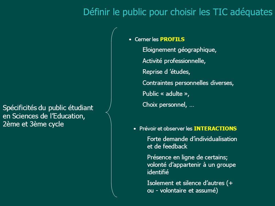 Spécificités du public étudiant en Sciences de lEducation, 2ème et 3ème cycle Cerner les PROFILS Eloignement géographique, Activité professionnelle, R