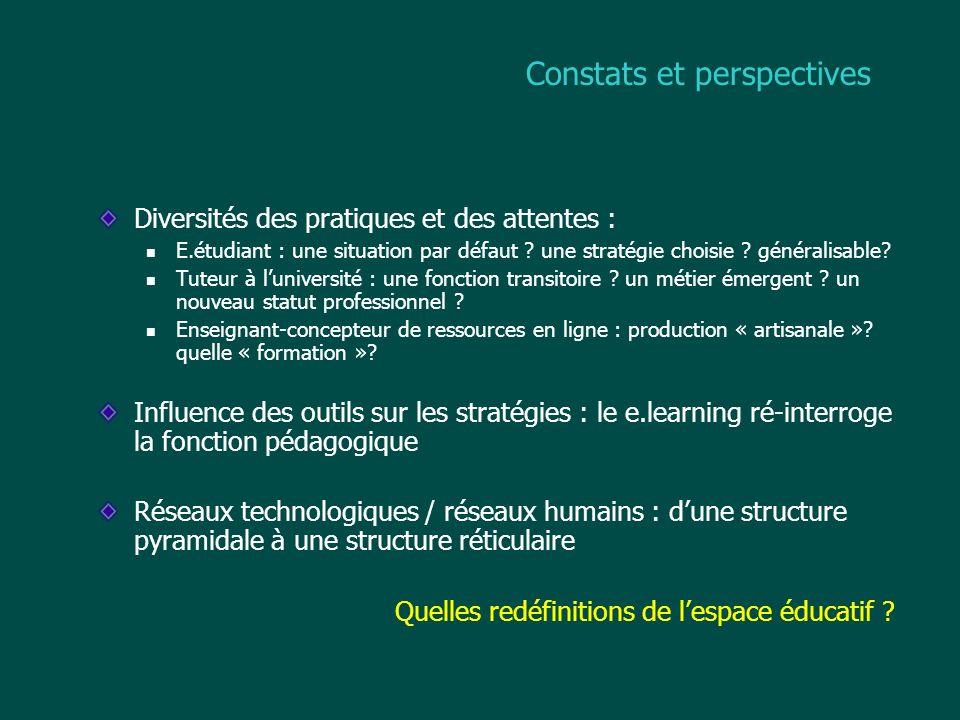 Constats et perspectives Diversités des pratiques et des attentes : E.étudiant : une situation par défaut ? une stratégie choisie ? généralisable? Tut