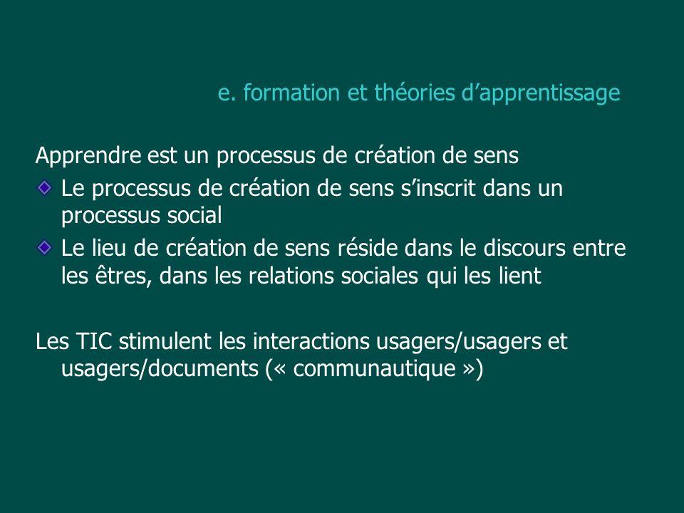 e. formation et théories dapprentissage Apprendre est un processus de création de sens Le processus de création de sens sinscrit dans un processus soc