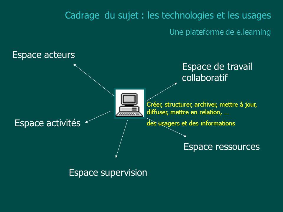 Cadrage du sujet : les technologies et les usages Une plateforme de e.learning Espace acteurs Espace activités Espace ressources Espace de travail col